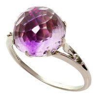 TIFFANY & CO. Art Deco Dome-Cut Amethyst Platinum Cocktail Ring