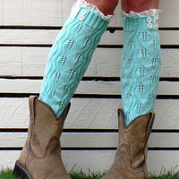 Mint Crochet Knitted Leg Warmers