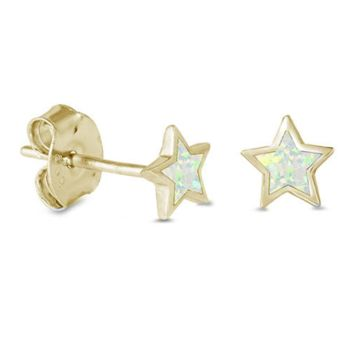 .925 Sterling Silver Yellow Gold Star White Fire Opal Ladies and Kids Stud Earrings