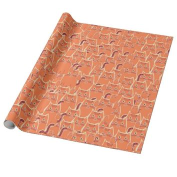 Cute Crowd of Orange Cats Wrapping Paper
