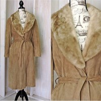 Vintage 60s full length leather coat / size M / Long leather coat fur trim / 1960s Taupe leather coat / New England Sports Wear USA
