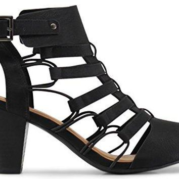 MARCOREPUBLIC Marco Republic Krakow Gladiator Strappy Peep Toe Stacked Heels Sandals