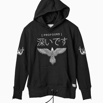 Embroidered Eagle Pullover Flame Hoodie in Black