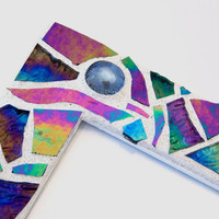 "Mosaic Picture Frame, Handmade Iridescent + Textured Stained Glass Design with Glass Nuggets, 4"" x 6"" Picture Size"