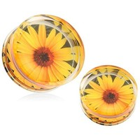 BodyJ4You Acrylic Plugs Sunflower Double Flare Saddle Ear Gauges 00G (10mm) Stretchers 2PCS