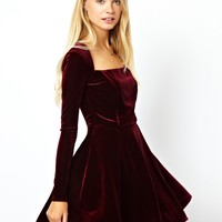 ASOS | ASOS Velvet Skater Dress at ASOS