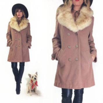 Vintage 1960s 1970s Terracota PENNY LANE Shearling And Wool Coat    Size Medium