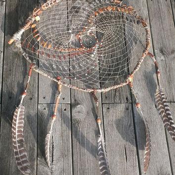 Turkey Feather Dream Catcher - Extra Large Dream Catcher - Tribal Willow Branch DreamCatcher - Evil Eye Artwork - Giant  Boho Dream Catcher