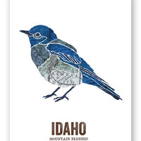MOUNTAIN BLUEBIRD // Idaho State Bird, Nature Print, Vintage Map, State Poster, Rustic, Hippie, Outdoor, Country, Reproduction Print