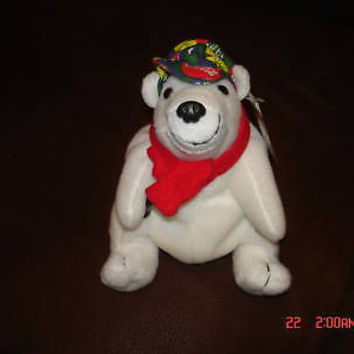 COCA-COLA POLAR BEAR COKE CAP & RED SCARF W/COKE IN PAW