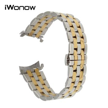 Curved End Stainless Steel Watch Band 18mm 20mm 22mm 24mm for Longines Tissot Mido Omega Butterfly Buckle Strap Wrist Bracelet