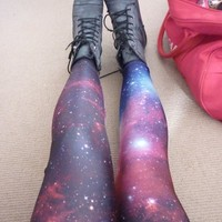 Galaxy Purple Leggings - Black Milk