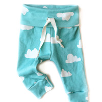 Organic Drawstring Baby Leggings Tiffany Clouds