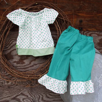 Girls Peasant Dress Top And Ruffled Pants, Size 3 In Green (2,) | Luulla