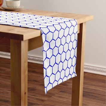 Blue pattern. Hexagonal grid. Monogram. Short Table Runner
