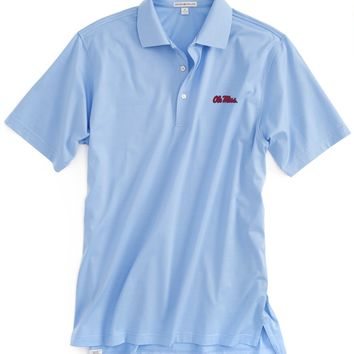 Ole Miss Solid Cotton Lisle Golf Shirt with Knit Collar - Ole Miss - Mississippi - Collegiate | Peter Millar