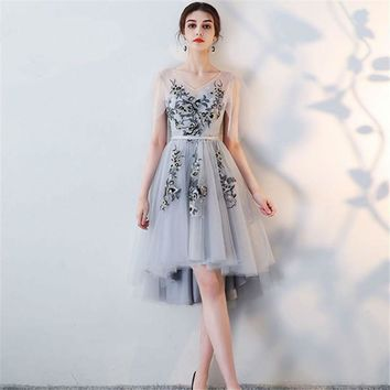 Bridesmaids Dresses V-Neck Flower Embroidery Tulle Formal Dress Lace Up  Lady
