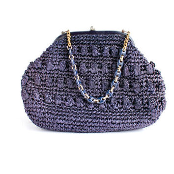Vintage Large Blue Purse - Mid Century 1950s 1960s Straw Woven Pocketbook / Raffia Bag