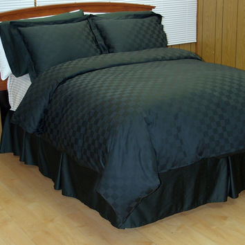 8PC Black Checkered Down Alternative Bed in a Bag