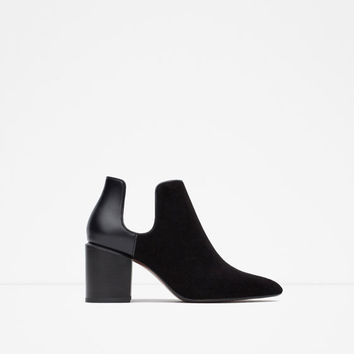 COMBINED HIGH HEEL ANKLE BOOTS