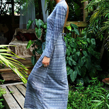 Tribal Print Backless Maxi Dress Loungewear Resortwear Coverup Summer Holiday Cruise Honeymoon Travel