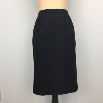 Black Wool Skirt Minimalist Vintage 80s Womens Skirts Pencil Pendleton Size 12 Skirt Midi Classic Skirt FREE SHIPPING Large Womens Clothing