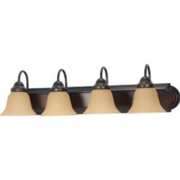 Glomar Ballerina 4-Light Mahogany Bronze Vanity with Champagne Linen Washed Glass-HD-1266 at The Home Depot