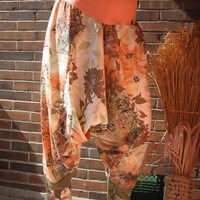 TALL SIZE extra long xl xxl 2xl 18 20 COTTON Adventure Pants - peach pastel ethno leaves ornaments - unique ooak