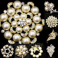 ADD'L Item $1.5 REFUND rhinestone crystal bouquet flower brooch pin