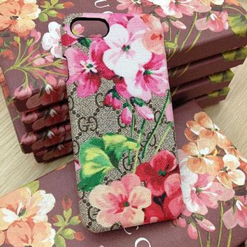 GUCCI men and women fashion flower print iPhone mobile phone case F