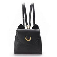 2016 Sailor Moon Bag Women Handbags Famous Brands  Black White Cat PU Leather Women Shoulder Bags   f40-701