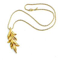 Vintage Monet Pendant Necklace, Reticulated Leaf Pendant, Gold Tone Monet Leaves Pendant Necklace, Signed Monet Necklace.