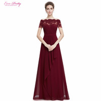 Burgundy Boat Neck Royal Blue Lace Red Chiffon Long Party Prom Dress