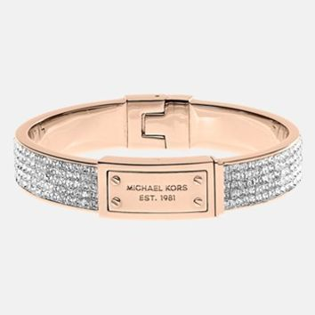 Michael Kors Logo Plaque Pave Hinged Bangle