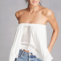 Crochet Draped Strapless Top
