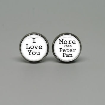 "Silver Stud Post Earrings with Peter Pan Inspired ""I Love You More Than Peter Pan"""