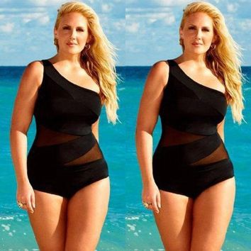 Black Womens SEXY Plus Size Swimsuit Retro One-Piece Push Up Bikini Set Swimwear Tankini