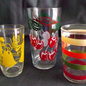 Three Vintage Glass Tumblers Cherries Colored Stripes Victorian Style Lady