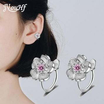 JYouHF Cute Pink Purple Cherry Earrings Jewelry Korea Simple Silver Plated CZ Stone Non Pierced Clip Earrings for Girls Brincos