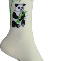 Panda Crew Socks in Cream