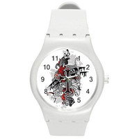 Goth / Punk Cross of Black and Red on a White Plastic Watch ...New