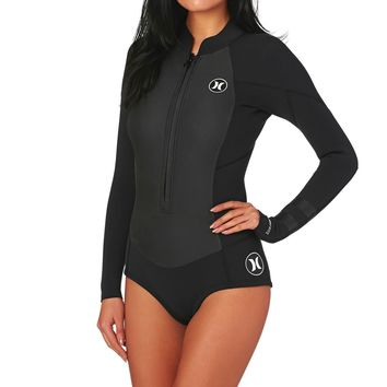 Hurley Womens Fusion 2mm 2017 Front Zip Long Sleeve Shorty Wetsuit - Black