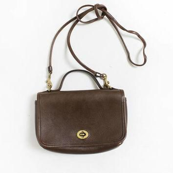 Vintage COACH Purse - Brown Leather Crossbody Designer Hand Bag 80s / 90s
