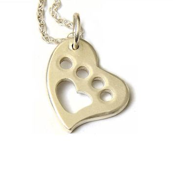 A Paw for the Animal Love in Custom Sterling Silver Heart Charm Necklace