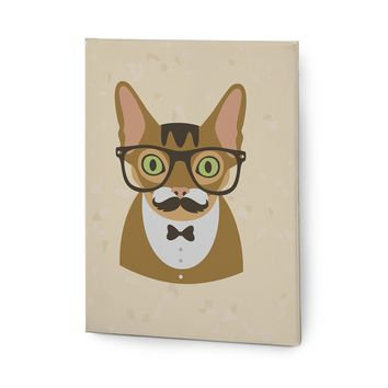 Hipster Animals Pictures Canvas Wall Art Painting Prints Brown Cat