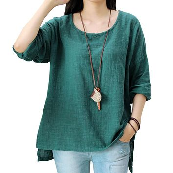 Johnature Women Loose Cotton Linen T-Shirt O-Neck 2018 Spring New Vintage Long Sleeve 5 Colours Casual Tops Women Shirts