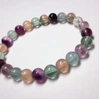 Rainbow Fluorite Bracelet - Rainbow Bracelet, Genuine Fluorite Jewelry, Colorful Gemstone Bracelet, Cute Gift Ideas, Cute Bracelet