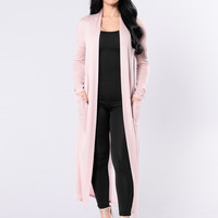 Stay Cozy Cardigan - Dusty Pink