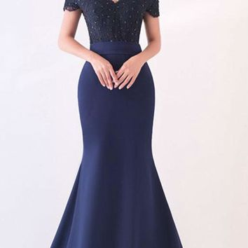 Sexy Sweetheart Prom Dresses Short Sleeve Appliques Beads Prom Dress Mermaid Party Gowns