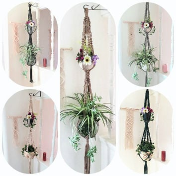 Macrame double plant hangers, large 2 tier double hanging planter, Colorful Double Plant Hanger, Two Pots 70s Holder macrame, 2 pot hanger